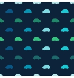 Silhouettes colored cars clouds seamless vector