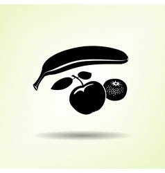 Banana mandarin icon four fruits black vector