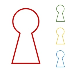 Keyhole sign set of line icons vector