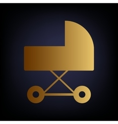 Pram sign golden style icon vector