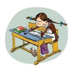 Angry schoolgirl in school vector image