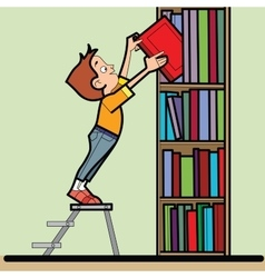 Boy book library reading vector