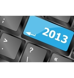 2013 new year keyboard key button close-up vector