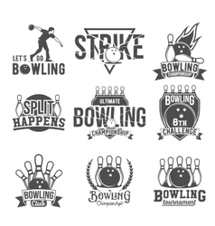Set of bowling emblems labels badges and vector