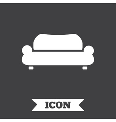 Comfortable sofa icon modern couch symbol vector