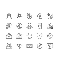 Line Satellite Icons vector image