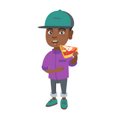 african-american boy eating tasty pizza vector image vector image