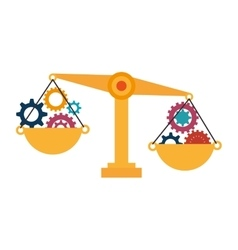 Balance scale with gears vector