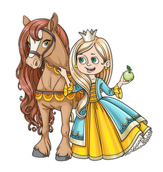 Beautiful princess with horse isolated on a white vector