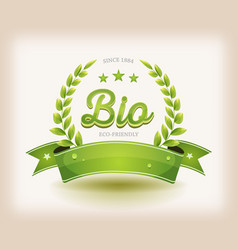 Bio and eco label with green banner vector