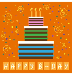 Birthday greeting card with cake and candles vector image vector image