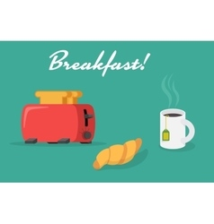 Breakfast banner with toaster croissant cup vector image
