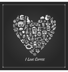 Coffee time heart shape for your design vector
