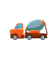 Concrete mixer toy cute car icon vector
