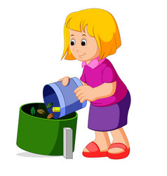 cute girl with a trash bag near the garbage contai vector image