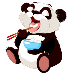 Cute panda eating rice vector image