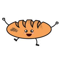 Delicious bread isolated kawaii character vector