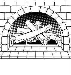 fireplace coloring book vector image