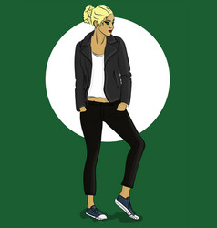 Girl dressed in leather jacket and jeans eps10 vector