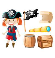 Girl in pirate costume and pirate elements vector