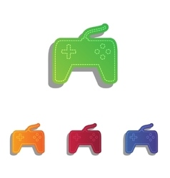 Joystick simple sign Colorfull applique icons set vector image