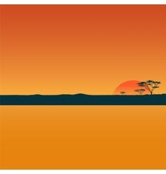 Landscape with sunset in desert vector image