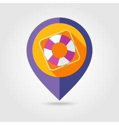 Lifebuoy flat mapping pin icon with long shadow vector