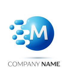 M letter splash logo blue dots and circle bubble vector