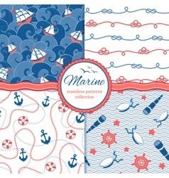 Marine patterns set vector image vector image