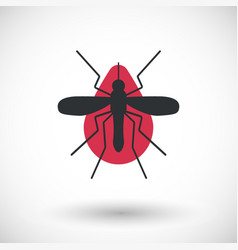 Mosquito and blood flat icon vector