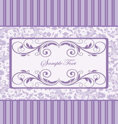 Purple damask invitation card vector