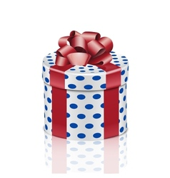 Round gift box with red ribbon vector image