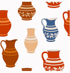 Seamless pattern from ceramic crockery vector