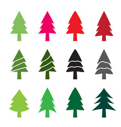 Set of christmas tree in silhouette style vector
