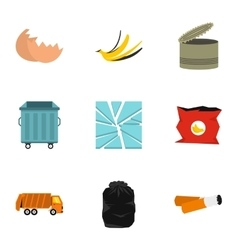 Waste icons set flat style vector image vector image