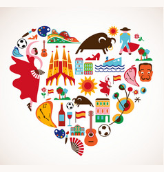 Spain Love - heart with set of icons vector image