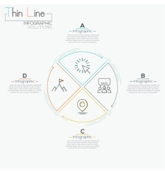 Thin line minimal arrow business cycle template vector