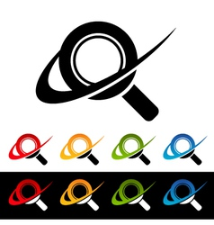 Swoosh magnifying glass logo icons vector