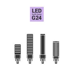 Led light g24 bulbs silhouette icon set vector