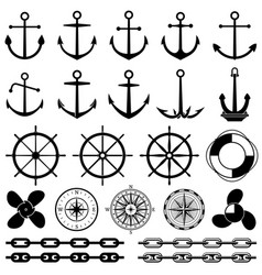 Anchors rudders chain rope knot icons vector