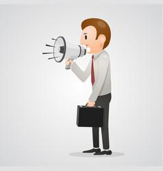 office man shouting in megaphone vector image