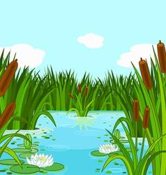 Pond scene vector image
