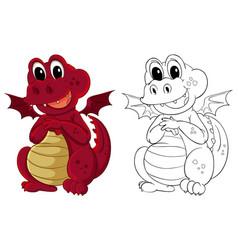 animal outline for little dragon vector image