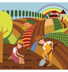 Rural landscape and farmers vector