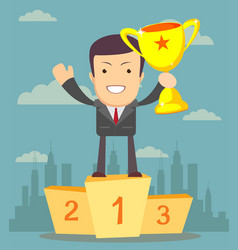 Businessman holding winner s cup vector