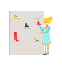 Blond woman choosing shoes in a shoes store vector