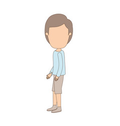 Light color caricature faceless full body guy with vector