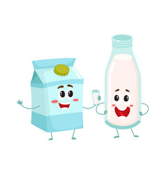 Funny milk characters bottle and carton box vector