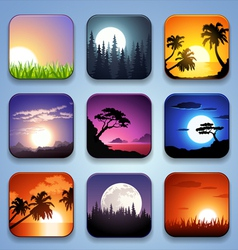 Background for the app icons-summer landscape set vector
