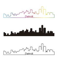 Detroit skyline linear style with rainbow vector
